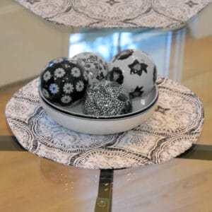 Sweet Pea Linens - Grey Medallion Outdoor Fabric Charger-Center Round Placemat (SKU#: R-1015-A14) - Table Setting
