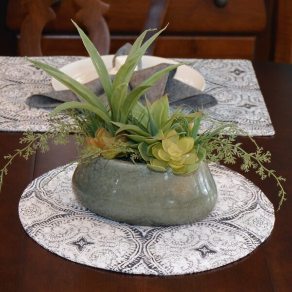 Sweet Pea Linens - Grey Medallion Outdoor Fabric Charger-Center Round Placemat (SKU#: R-1015-A14) - Alternate Table Setting