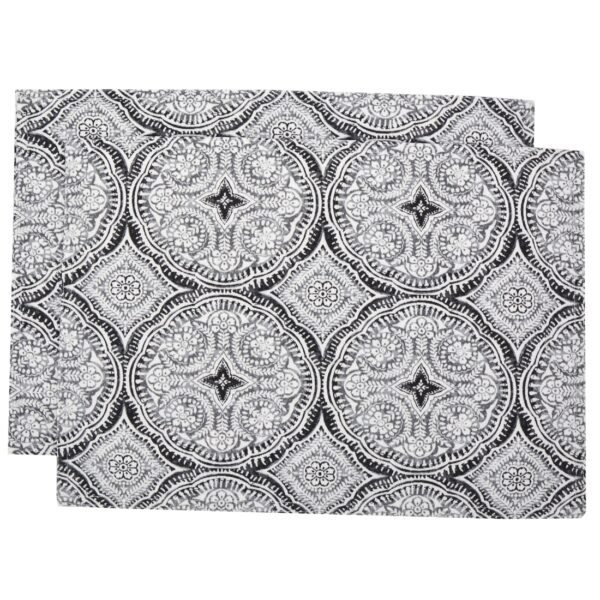 Sweet Pea Linens - Grey Medallion Outdoor Fabric Rectangle Placemats - Set of Two (SKU#: RS2-1002-A14) - Product Image