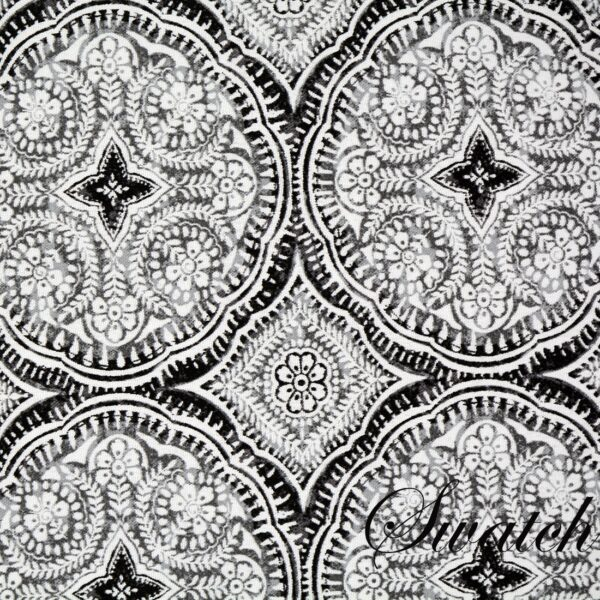 Sweet Pea Linens - Grey Medallion Outdoor Fabric Rectangle Placemats - Set of Two (SKU#: RS2-1002-A14) - Swatch