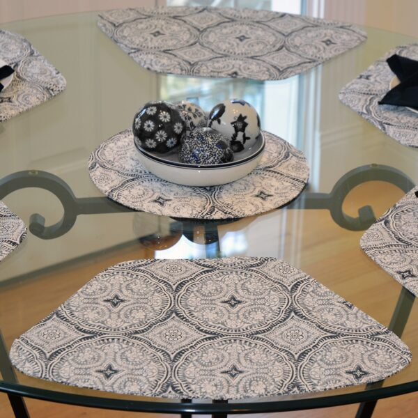 Sweet Pea Linens - Grey Medallion Outdoor Fabric Wedge-Shaped Placemats - Set of Two (SKU#: RS2-1006-A14) - Table Setting