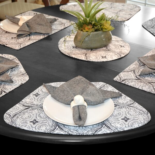 Sweet Pea Linens - Grey Medallion Outdoor Fabric Wedge-Shaped Placemats - Set of Two (SKU#: RS2-1006-A14) - Alternate Table Setting