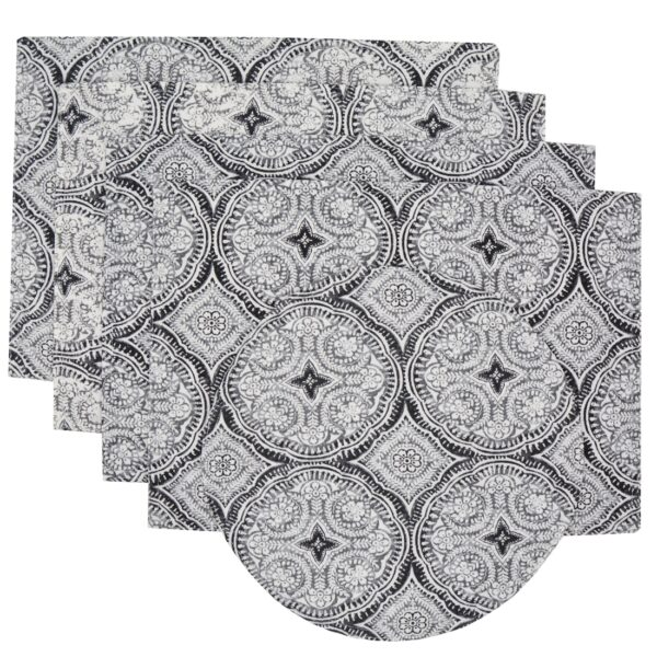 Sweet Pea Linens - Grey Medallion Outdoor Fabric Rectangle Placemats - Set of Four plus Center Round-Charger (SKU#: RS5-1002-A14) - Product Image