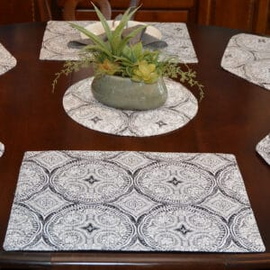 Sweet Pea Linens - Grey Medallion Outdoor Fabric Rectangle Placemats - Set of Four plus Center Round-Charger (SKU#: RS5-1002-A14) - Table Setting