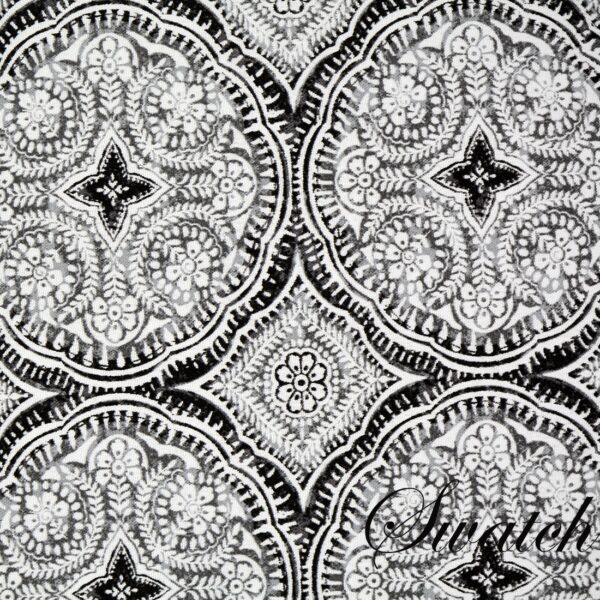 Sweet Pea Linens - Grey Medallion Outdoor Fabric Rectangle Placemats - Set of Four plus Center Round-Charger (SKU#: RS5-1002-A14) - Swatch