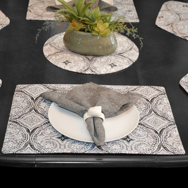 Sweet Pea Linens - Grey Medallion Outdoor Fabric Rectangle Placemats - Set of Four plus Center Round-Charger (SKU#: RS5-1002-A14) - Alternate Table Setting