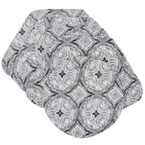 Sweet Pea Linens - Grey Medallion Outdoor Fabric Wedge-Shaped Placemats - Set of Four plus Center Round-Charger (SKU#: RS5-1006-A14) - Product Image