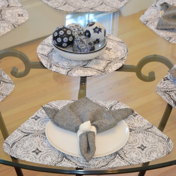 Sweet Pea Linens - Grey Medallion Outdoor Fabric Wedge-Shaped Placemats - Set of Four plus Center Round-Charger (SKU#: RS5-1006-A14) - Alternate Table Setting