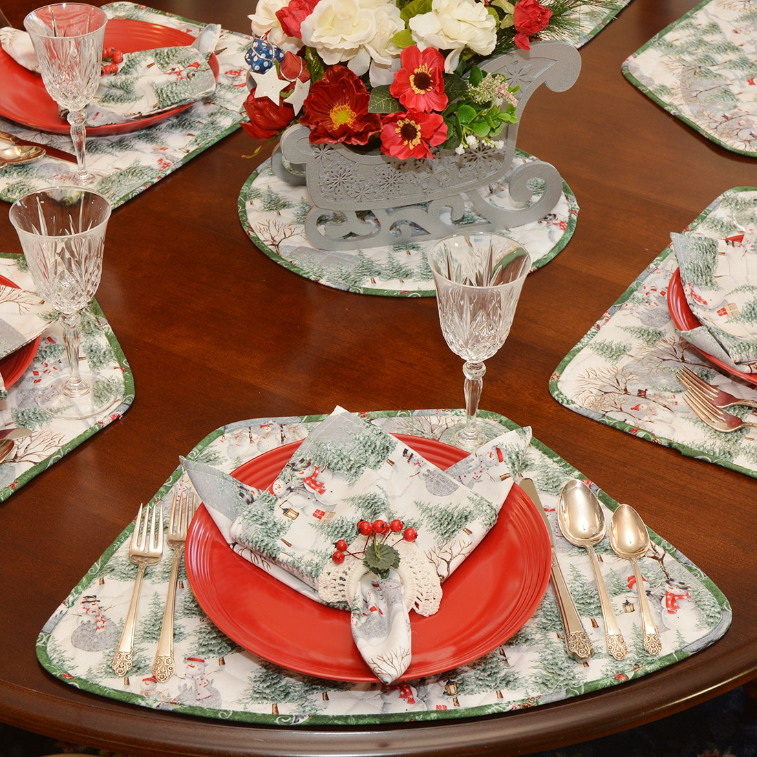Quilted Snowman and Christmas Sleighs Table Linen Collection