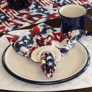 Sweet Pea Linens - Red, White & Blue, Stars & Stripes Flag Cloth Napkin (SKU#: R-1010-A7) - Table Setting