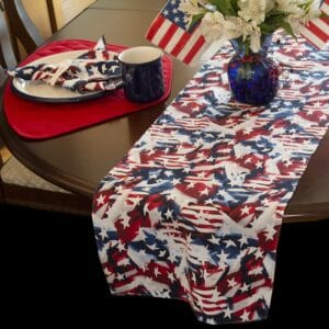 Sweet Pea Linens - Red, White & Blue, Stars & Stripes Flag 72 inch Table Runner (SKU#: R-1024-A7) - Table Setting
