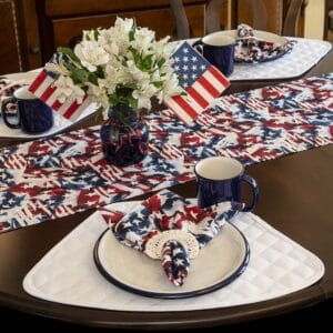 Red, White & Blue American Flag Napkin and Table Runner Collection