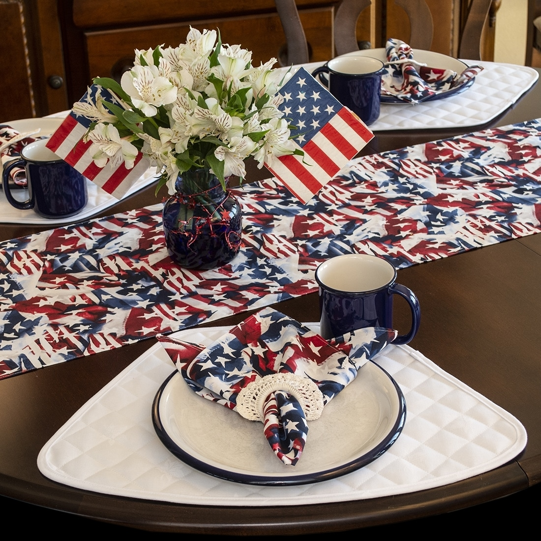 Sweet Pea Linens - Red, White & Blue, Stars & Stripes Flag 72 inch Table Runner (SKU#: R-1024-A7) - Alternate Table Setting