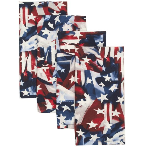 Sweet Pea Linens - Red, White & Blue, American Flag Cloth Napkins - Set of Four (SKU#: RS4-1010-A7) - Product Image