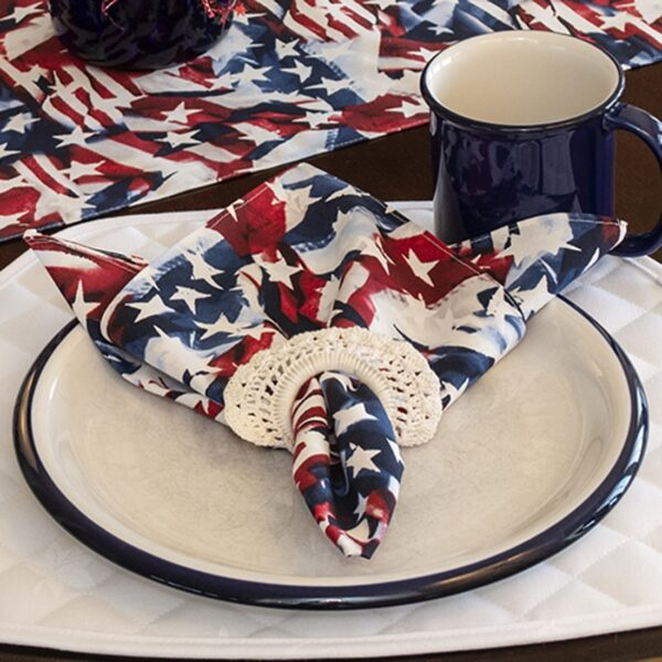 Sweet Pea Linens - Red, White & Blue, American Flag Cloth Napkins - Set of Four (SKU#: RS4-1010-A7) - Table Setting