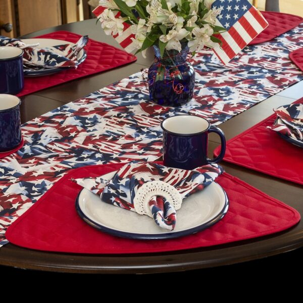 Sweet Pea Linens - Red, White & Blue, American Flag Cloth Napkins - Set of Four (SKU#: RS4-1010-A7) - Alternate Table Setting