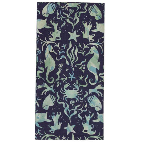 Sweet Pea Linens - Blue & Green Seahorse and Seashell Print Cloth Napkin (SKU#: R-1010-A9) - Product Image
