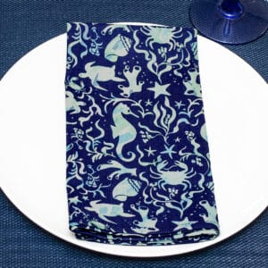 Sweet Pea Linens - Blue & Green Seahorse and Seashell Print Cloth Napkin (SKU#: R-1010-A9) - Table Setting