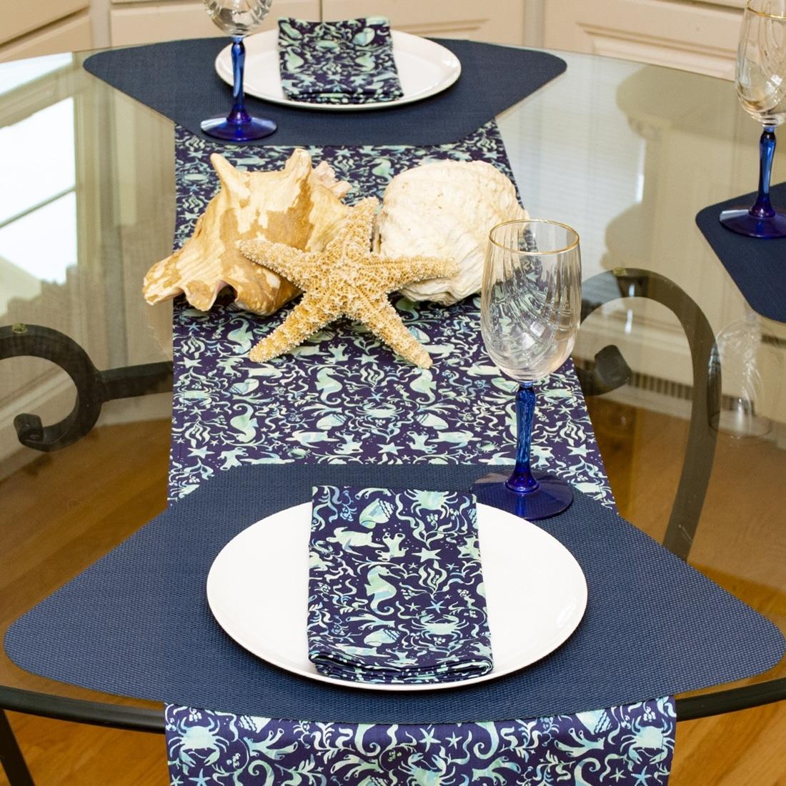 Sweet Pea Linens - Blue & Green Seahorse and Seashell Print Cloth Napkin (SKU#: R-1010-A9) - Alternate Table Setting