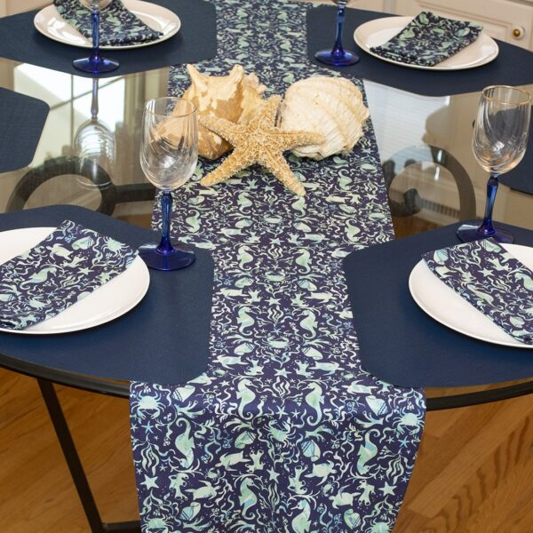 Sweet Pea Linens - Blue & Green Seahorse and Seashell Print 72 inch Table Runner (SKU#: R-1024-A9) - Table Setting