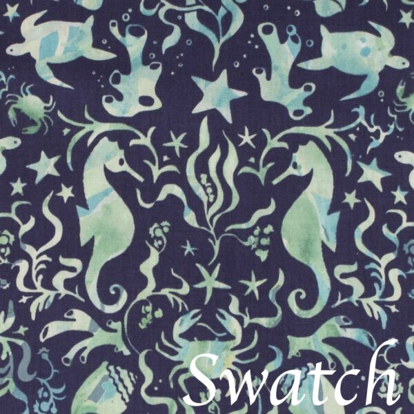 Sweet Pea Linens - Blue & Green Seahorse and Seashell Print 72 inch Table Runner (SKU#: R-1024-A9) - Swatch