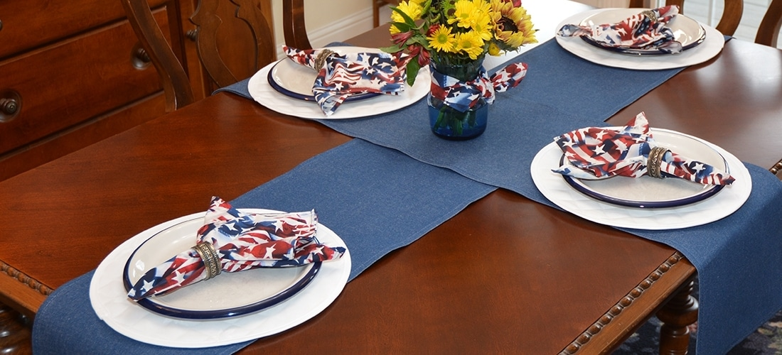 Sweet Pea  Linens - Darker Blue Denim Table Linen Collection (B26)