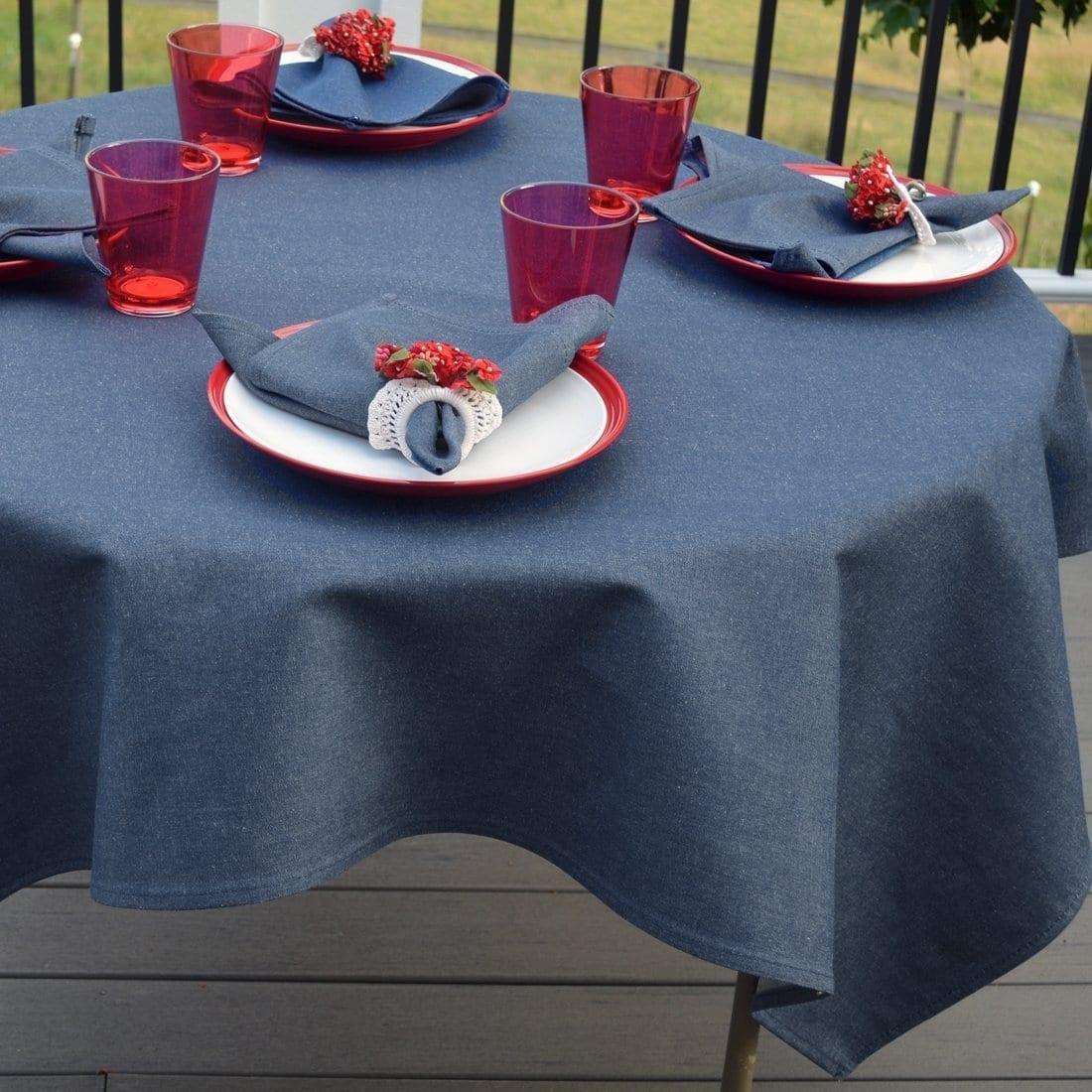 Sweet Pea Linens - Darker Blue Denim 54 inch Square Table Cloth (SKU#: R-1008-B26) - Table Setting