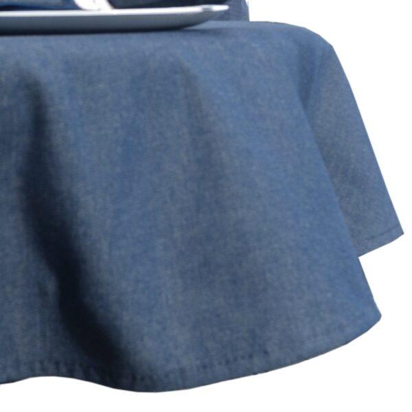 Sweet Pea Linens - Darker Blue Denim 64 inch Round Table Cloth (SKU#: R-1009-B26) - Product Image
