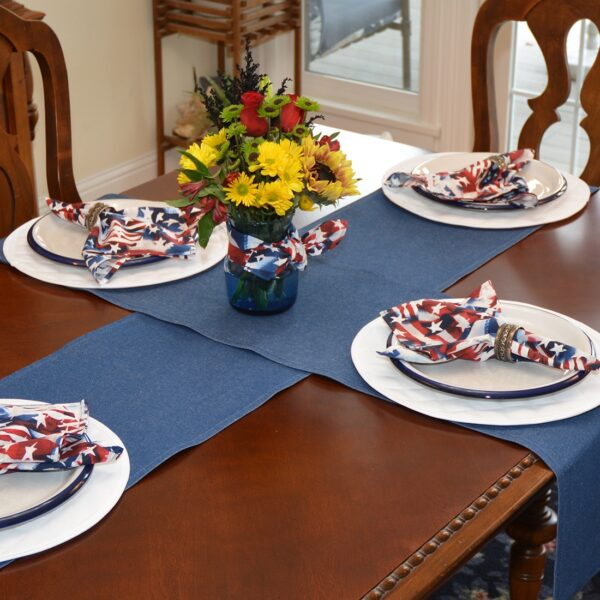 Sweet Pea Linens - Darker Blue Denim 72 inch Table Runner (SKU#: R-1024-B26) - Table Setting