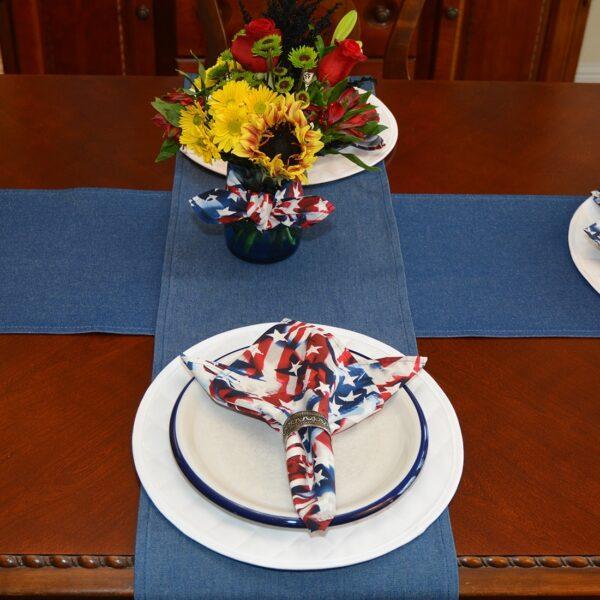 Sweet Pea Linens - Darker Blue Denim 72 inch Table Runner (SKU#: R-1024-B26) - Alternate Table Setting