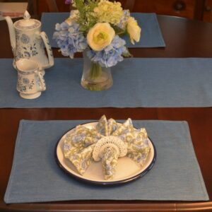 Sweet Pea Linens - Blue Denim Rectangle Placemats - Set of Two (SKU#: RS2-1002-B2) - Table Setting