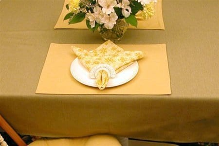 Sweet Pea Linens - Wheat Denim Rectangle Placemats - Set of Two (SKU#: RS2-1002-B3) - Table Setting