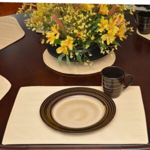 Sweet Pea Linens - Wheat Twill Rectangle Placemats - Set of Two (SKU#: RS2-1002-B30) - Table Setting
