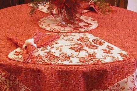 Sweet Pea Linens - Red Romance Print 54 inch Square Table Cloth (SKU#: R-1008-C2) - Table Setting