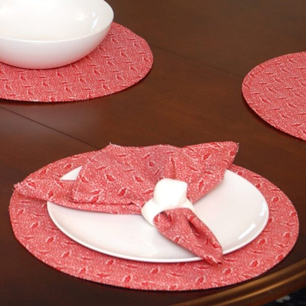 Sweet Pea Linens - Red Romance Print Charger-Center Round Placemat (SKU#: R-1015-C2) - Table Setting