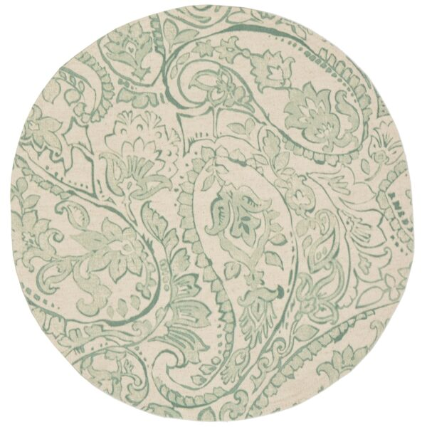 Sweet Pea Linens - Sea Mist Green Paisley Charger-Center Round Placemat (SKU#: R-1015-C5) - Product Image