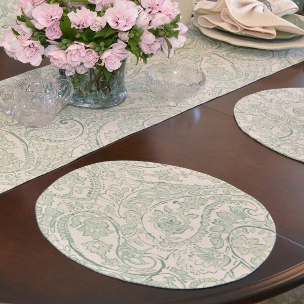 Sweet Pea Linens - Sea Mist Green Paisley Charger-Center Round Placemat (SKU#: R-1015-C5) - Table Setting