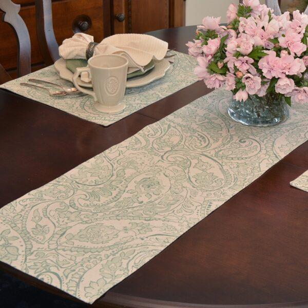 Sweet Pea Linens - Sea Mist Green Paisley 60 inch Table Runner (SKU#: R-1021-C5) - Table Setting