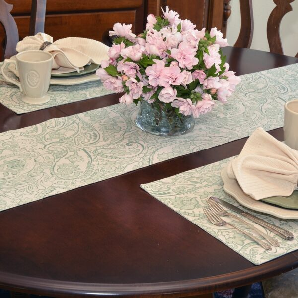 Sweet Pea Linens - Sea Mist Green Paisley 60 inch Table Runner (SKU#: R-1021-C5) - Alternate Table Setting