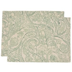 Sweet Pea Linens - Sea Mist Green Paisley Rectangle Placemats - Set of Two (SKU#: RS2-1002-C5) - Product Image