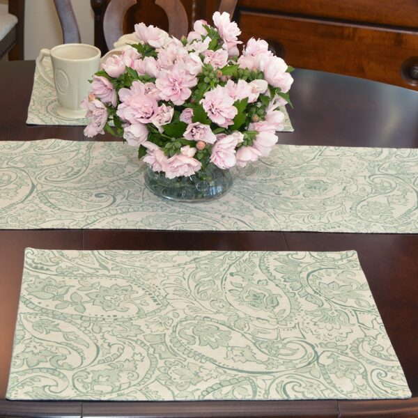 Sweet Pea Linens - Sea Mist Green Paisley Rectangle Placemats - Set of Two (SKU#: RS2-1002-C5) - Table Setting