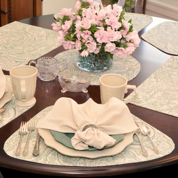 Sweet Pea Linens - Sea Mist Green Paisley Wedge-Shaped Placemats - Set of Two (SKU#: RS2-1006-C5) - Alternate Table Setting