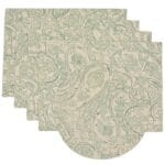 Sweet Pea Linens - Sea Mist Green Paisley Rectangle Placemats - Set of Four plus Center Round-Charger (SKU#: RS5-1002-C5) - Product Image