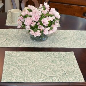 Sweet Pea Linens - Sea Mist Green Paisley Rectangle Placemats - Set of Four plus Center Round-Charger (SKU#: RS5-1002-C5) - Table Setting