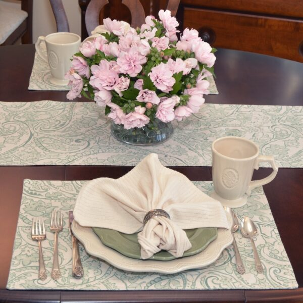 Sweet Pea Linens - Sea Mist Green Paisley Rectangle Placemats - Set of Four plus Center Round-Charger (SKU#: RS5-1002-C5) - Alternate Table Setting