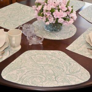 Sea Mist Green Paisley Table Linen Collection