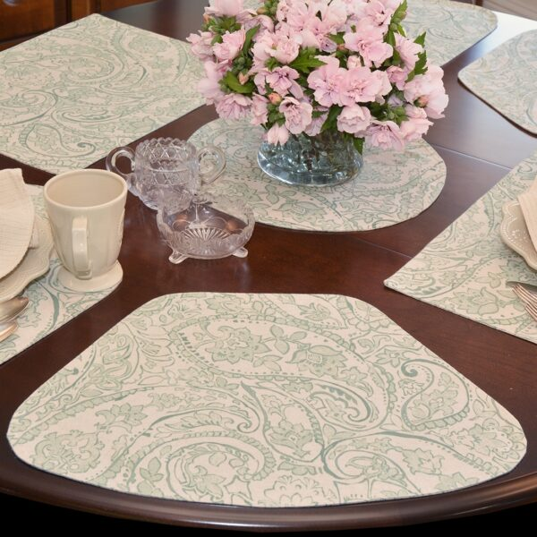 Sweet Pea Linens - Sea Mist Green Paisley Wedge-Shaped Placemats - Set of Four plus Center Round-Charger (SKU#: RS5-1006-C5) - Table Setting