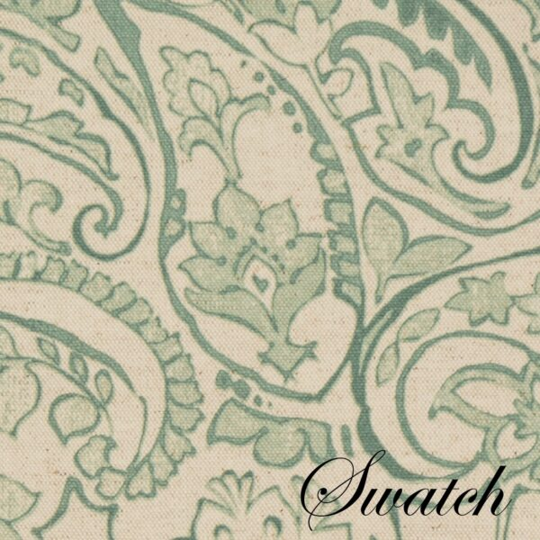Sweet Pea Linens - Sea Mist Green Paisley Wedge-Shaped Placemats - Set of Four plus Center Round-Charger (SKU#: RS5-1006-C5) - Swatch