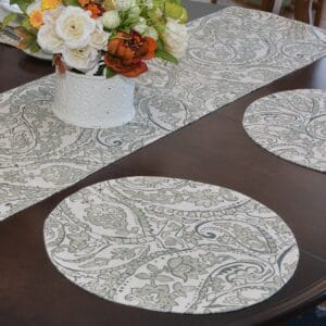 Sweet Pea Linens - Pewter Grey Paisley Charger-Center Round Placemat (SKU#: R-1015-C6) - Table Setting