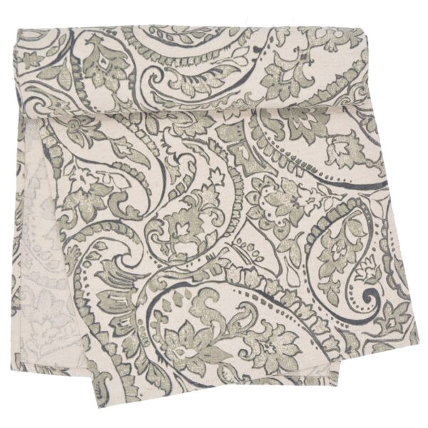 Sweet Pea Linens - Pewter Grey Paisley 60 inch Table Runner (SKU#: R-1021-C6) - Product Image